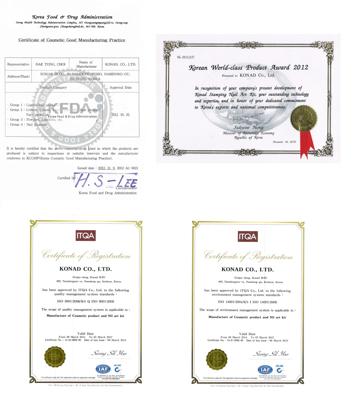 KONAD CO_, LTD Certificate of Registration ITQA ISO 9001 2008 2009.jpg