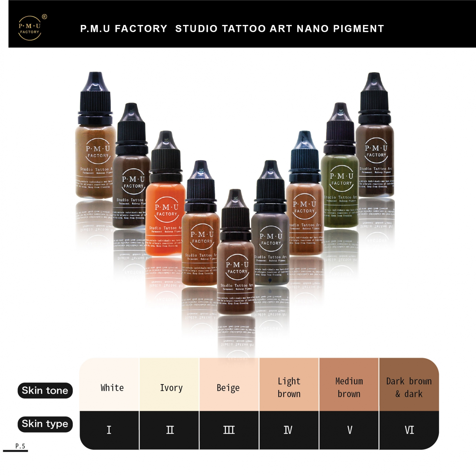 PMU FACTORY STUDIO TATTOO ART NANO PIGMENT SKIN TONE SKIN TYPE WHITE IVORY BEIGE LIGHT BROWN MEDIUM BROWN DARK BROWN DARK I II III IV V VI.jpg