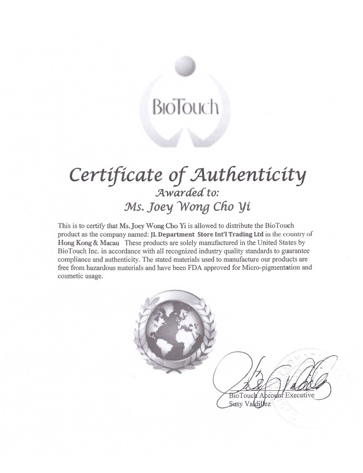 USA BioTouch Certificate of Authenticity and Authorized Distributor - Joey Wong Cho Yi