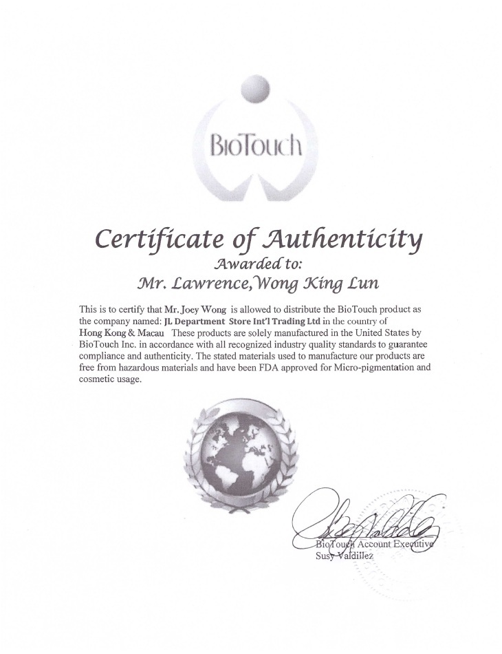 USA BioTouch Certificate of Authenticity and Authorized Distributor - Lawrance King Lun WONG